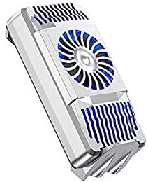 Cell Phone Heatsink Cooling Fan for 4-6.7 inch Smartphones Bracket Back Clip Portable Mini Cooler Semiconductor Radiator Play Games Lives Watch Videos, USB Charge with LED Fan Light Switch (Silver)