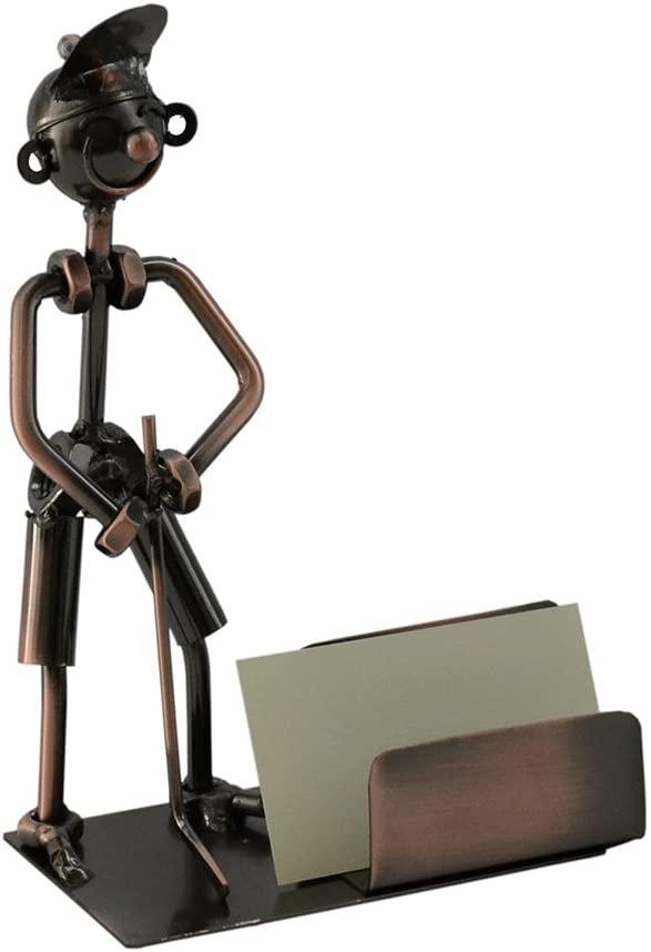 (D) Metal Golfer Business Card Holder for Desk Industrial Style