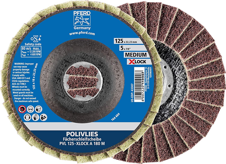 Pferd POLIVLIES Fan Discs 125mm, 180 Grit, Medium, Corundum A, X-LOCK (22.23mm), Pack of 5 - for quick and convenient tool change