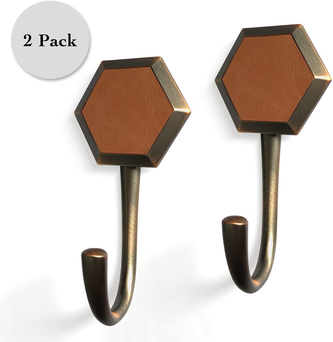 Regent Square Set of 2 Faux Leather Wall Hooks- Hexagon with Brown Faux Leather- 2-Pack, Oil Rubbed Bronze, Zinc Alloy, Wall/Door Mounted