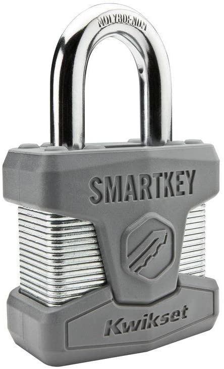 Kwikset 50MM SmartKey Padlock Standard Shackle in Satin Chrome, Pack Of 2