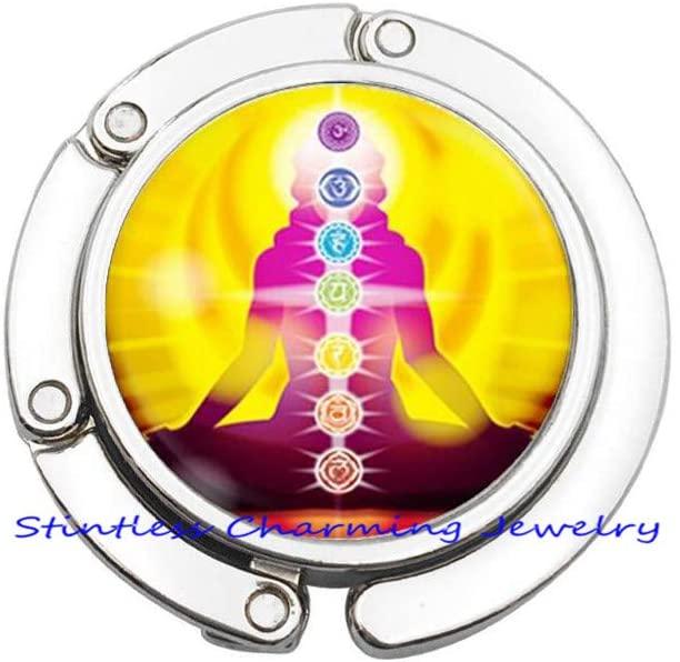 Handmade Sri Yantra Purse Hook, Sri Yantra Bag Hook Gift for Her Him, Sacred Geometry,Fashion Buddhism Sacred Geometry Yoga Purse Hook-JV110