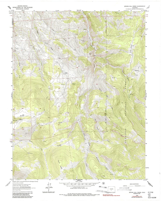 Map Print - Spring Hill Creek, Colorado (1962), 1:24000 Scale - 24