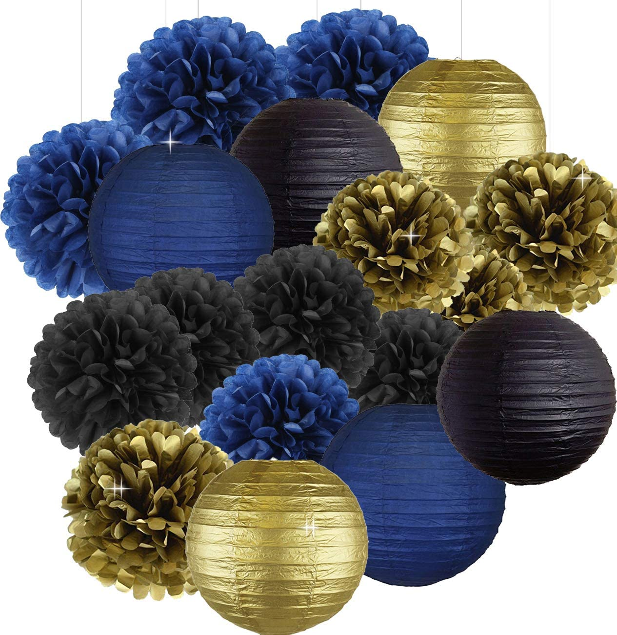 Black Navy Blue Gold 8inch 10inch Tissue Paper Pom Pom Paper Flowers Paper Honeycomb Paper Lanterns for Navy Blue Themed Party,Party Decoration Bridal Shower Decor Baby Shower Decoration