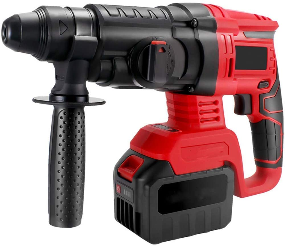 Lightweight Hammer Dril, 6200RPM Electric Drill SDS Quick Chuck 3 Functions in 1 Hammer Drill 360 ° Rotating Handle Forward and Reverse,A,2 Battery LMMS (Color : A, Size : 1 battery)
