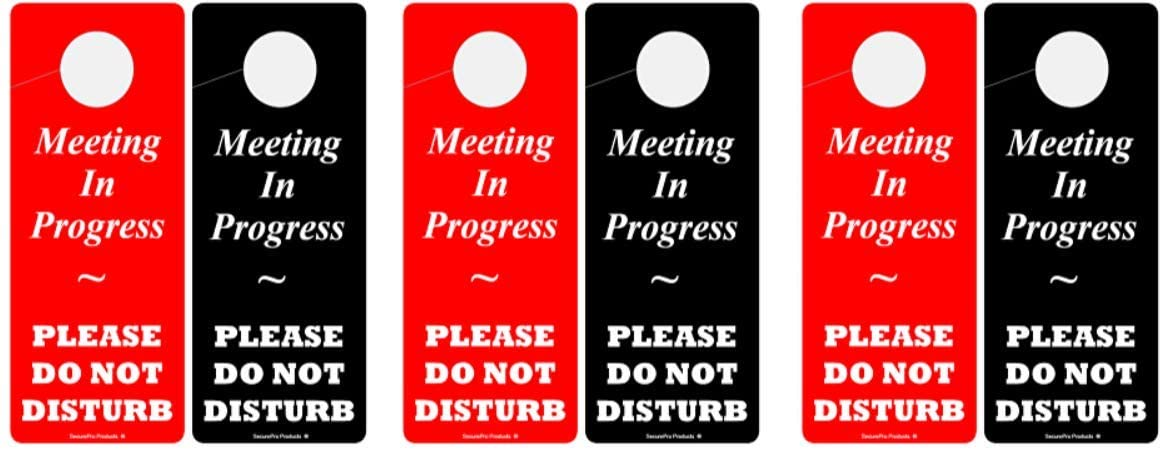 SecurePro Products Meeting in Progress - Please Do Not Disturb Premium Quality Double-Sided PVC Door Hanger - Heavy-Duty: .23 Mil Thick - 3.25 Wide x 8 Tall (3)