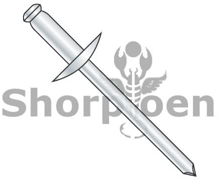 1/8X.12-.18 Large Flange Steel Zinc Rivet Steel Mandrel by - Box Quantity 10000 by Shorpioen BC-SDS43L
