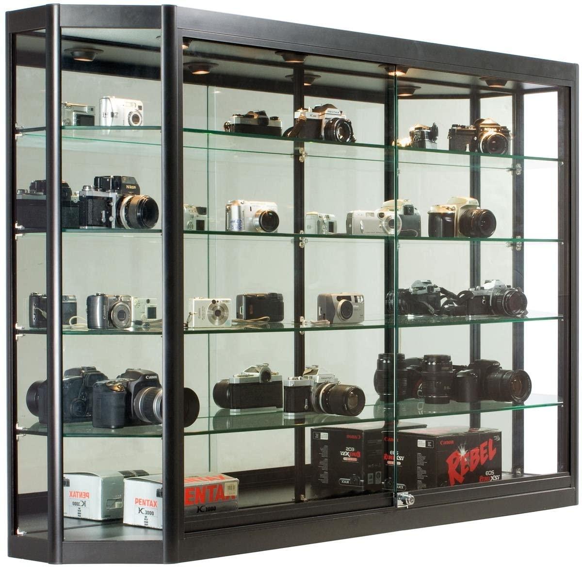 Displays2go 60 x 39.5 Inch Glass Illuminated Showcase for Wall Mount, Locking Sliding Doors, Aluminum Construction – Black (WC603912BK)