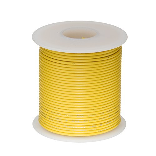 Remington Industries 26PTFESTRYEL100 26 AWG Gauge Stranded Hook Up Wire, 100 feet Length, Yellow, 0.0190