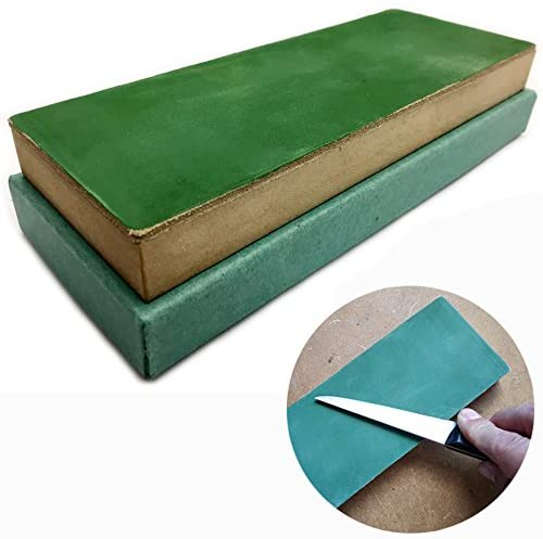 Leather Strop Block 3 inch by 8 inch preloaded by hand with green compound while still warm   Ready-to-use   For sharpening honing and polishing knives chisels and tools   by Upon Leather