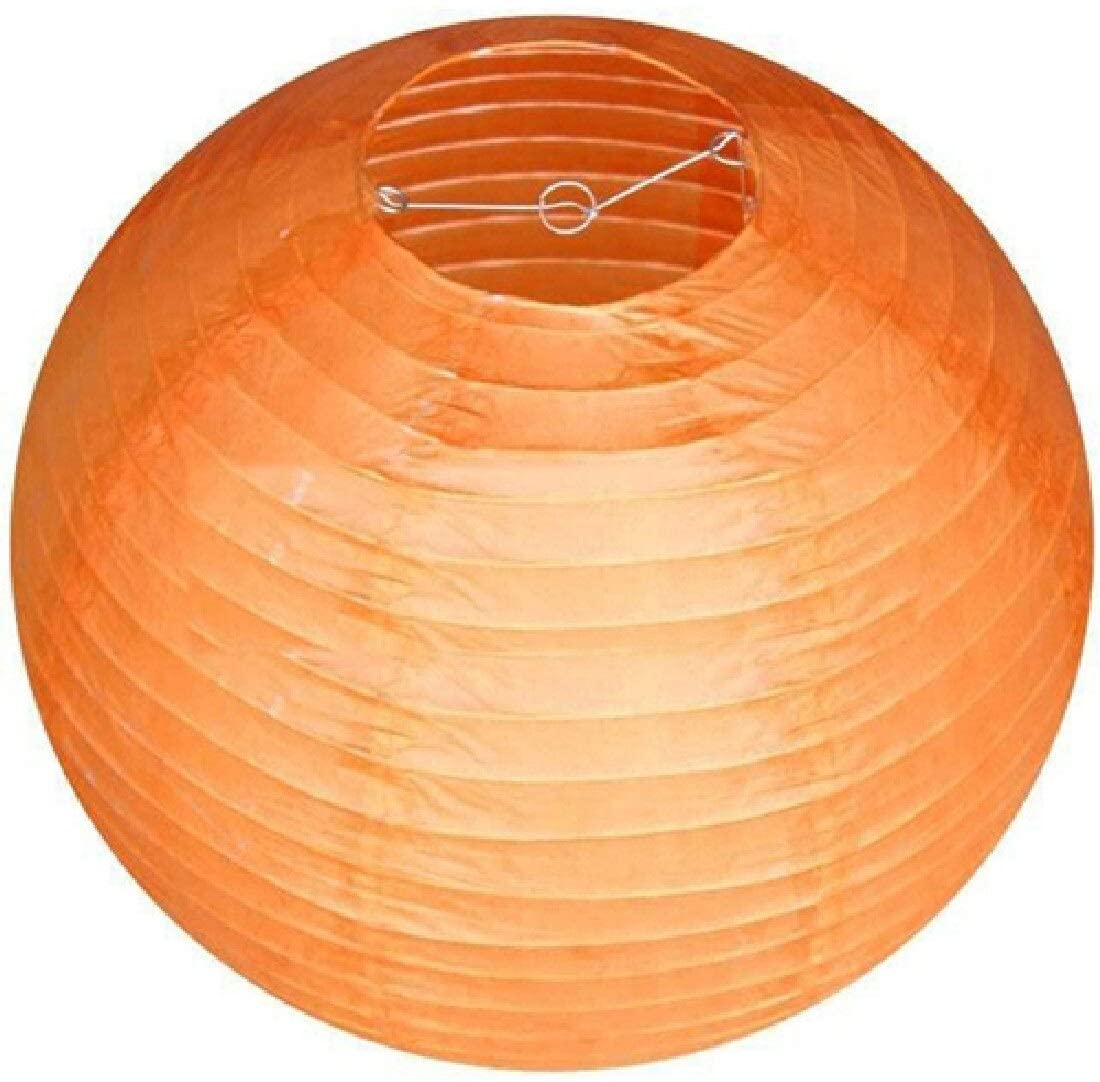 40cm Round Decorative Rice Paper Chinese Paper Lanterns Lamp Shade With Frame for Wedding Birthday Party Hanging Decor (Color : 40cm Orange)