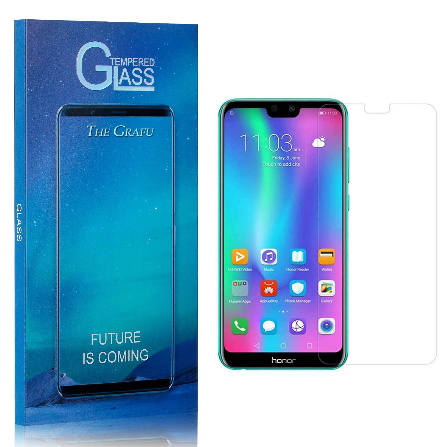 Screen Protector Compatible with Huawei Honor 9I, The Grafu 9H Ultra Clear Tempered Glass Screen Protector for Huawei Honor 9I, Drop Fall Protection, 4 Pack