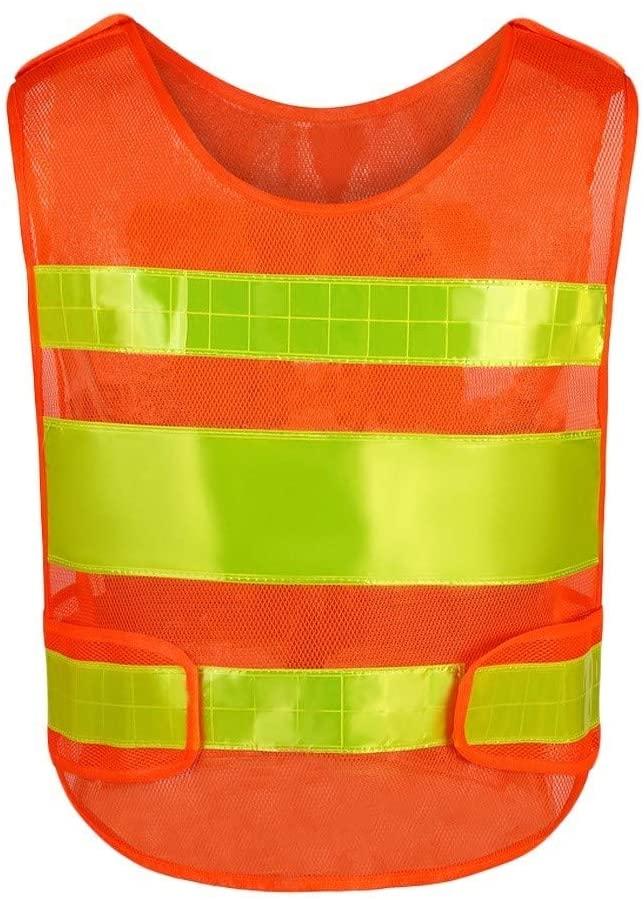 Safety Vest Reflective Safety Vest, Warning Vest Breathable Mesh Overalls Night Travel Safety High Visibility Vest Orange Child Safety Vest