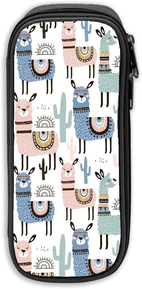 Watercolor Llama Cactus Pen Bag Pencil Case High Capacity Stylish Print Pens Pouch Bag Cosmetic Bag