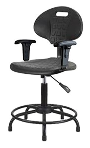 Thomas ECOM TPMBCH-RT-A1-RG Polyurethane Basic Industrial Medium Bench Height Chair with Round Tube Base, Adjustable Arm, Glides