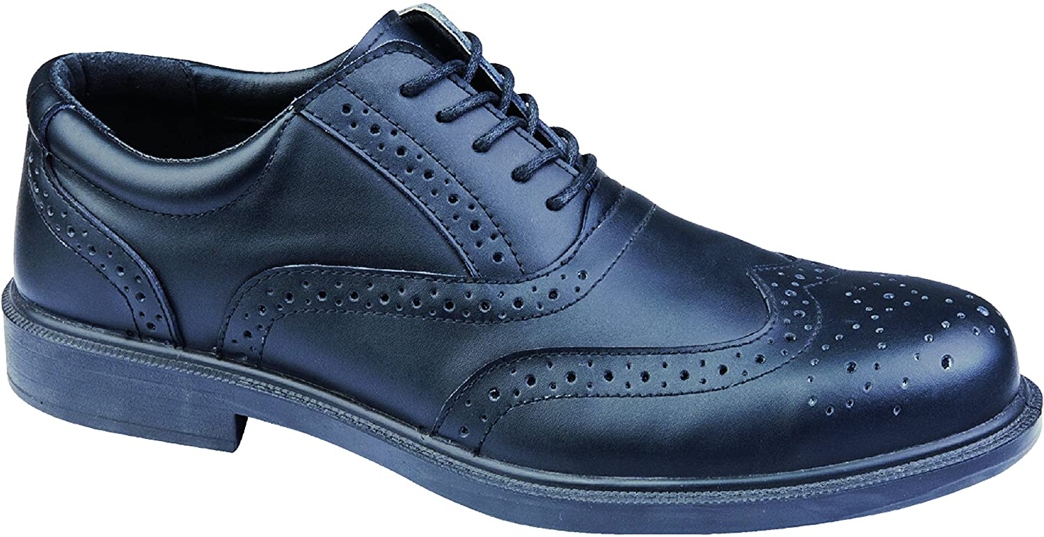 Capps Men's LH707 Leather Lace Brogue Safety Shoe With Antistatic Sole US Size 10 Black
