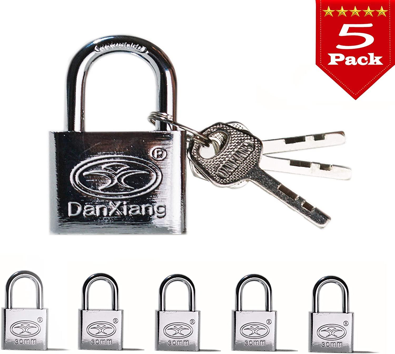Padlock, Key Alike Padlocks,(Heavy Duty Security) 50/30 mm,Small Steel Lock, (Pack of 5 & 3 Keyed Alike)