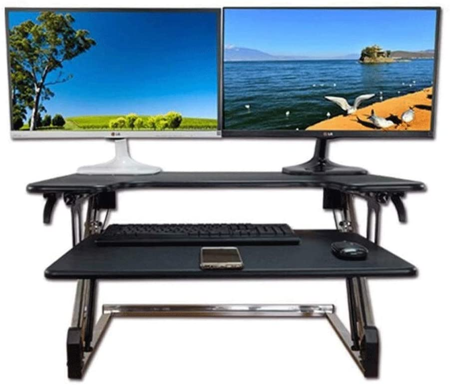 JNWEIYU Stand-up Computer Desk, Foldable Hydraulic Power-Assisted Second-Lift Computer Desk, Telescopic Keyboard, No Installation (Color : Black)