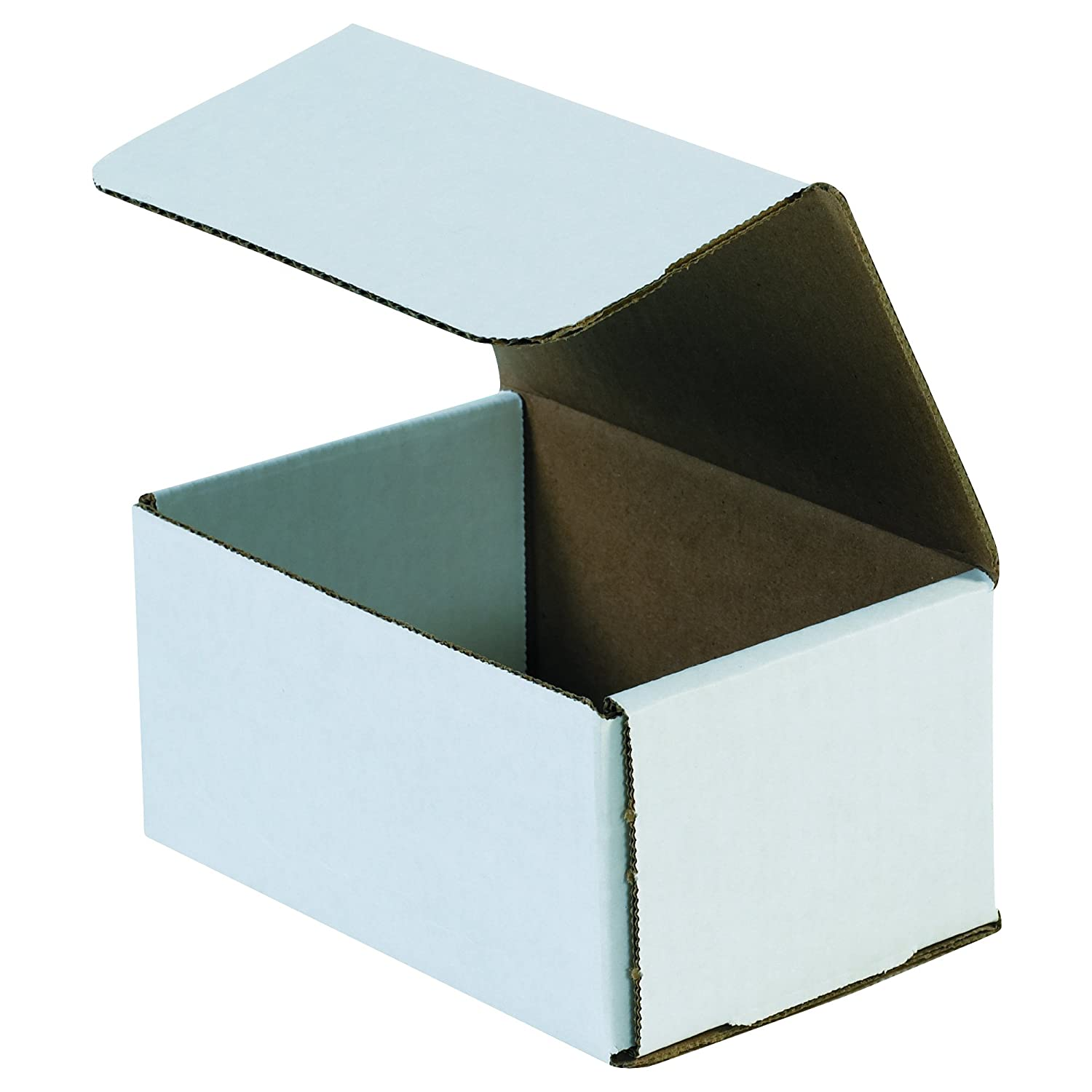 Boxes Fast BFM643 Corrugated Cardboard Mailers, 6 x 4 x 3 Inches, Tuck Top One-Piece, Die-Cut Shipping Cartons, Small White Mailing Boxes (Pack of 50)