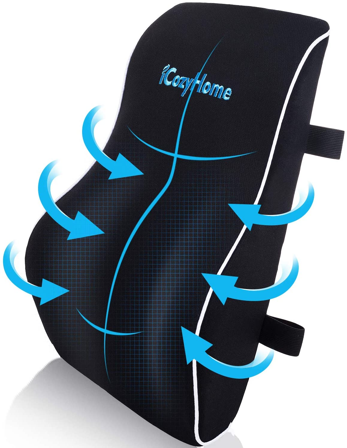 Lumbar Support Pillow for Chair, Lower Back Pillow, Memory Foam Lumbar Pillow for Back Pain, Orthopedic Back Cushion for Computer Chair, Gaming Chair, Office Chair, Car, Mesh Washable Cover