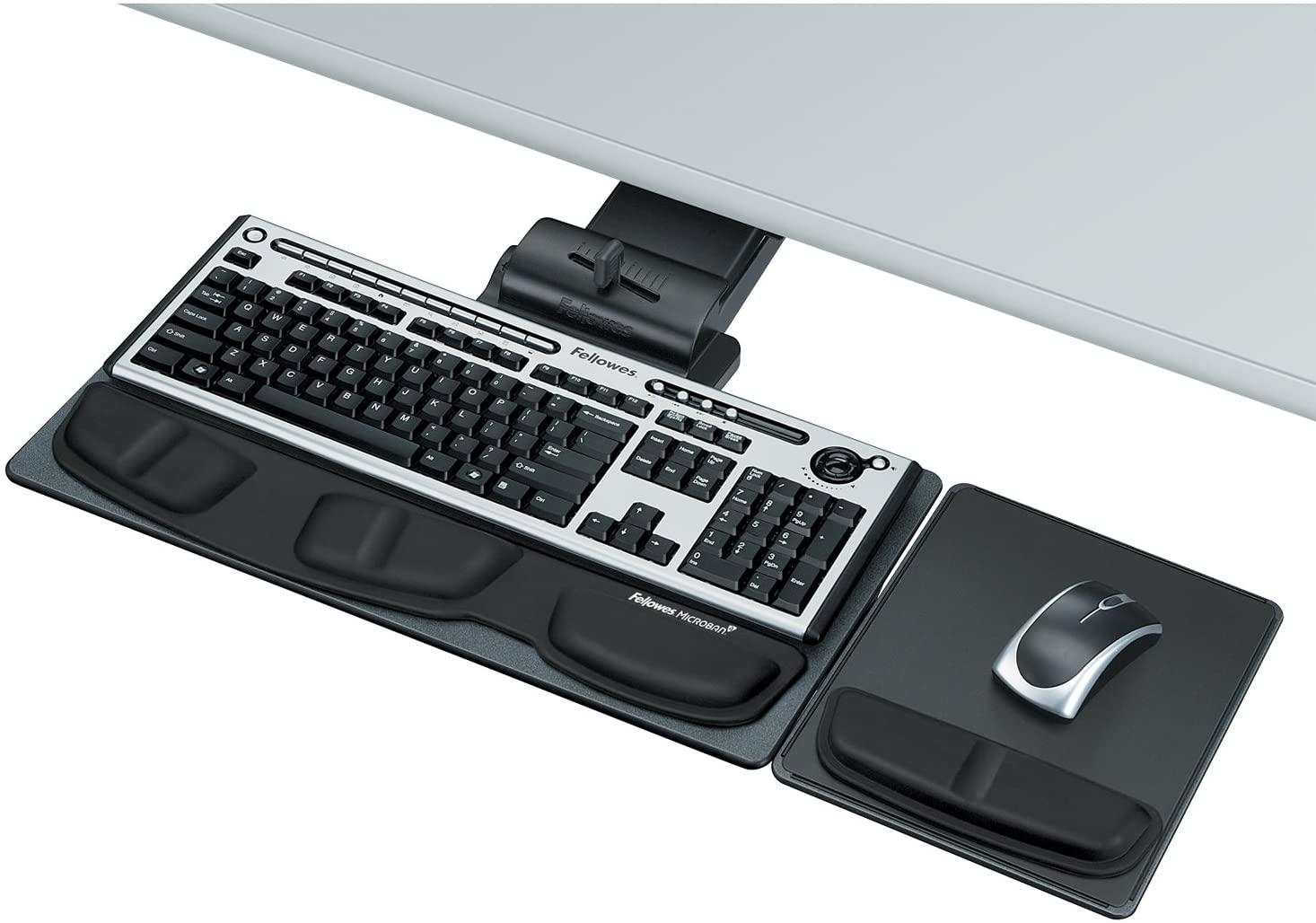 Fellowes Executive Adjustable Keyboard Tray, 19w x 10-5/8d, Black (8036101)