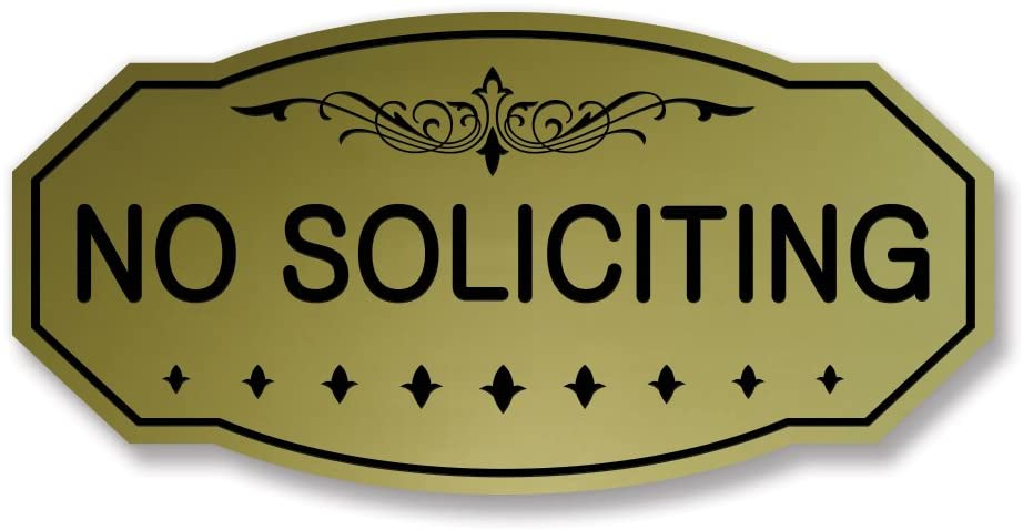 NO SOLICITING Victorian Door / Wall Sign (Brushed Gold) - Large 5 x 10