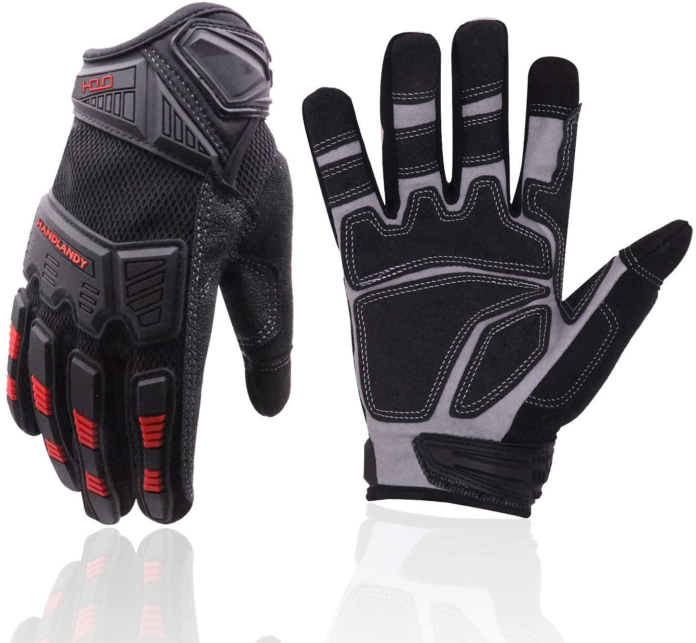 HANDLANDY Heavy Duty Work Gloves Men, Touchscreen TPR Impact Reducing Work Gloves, Non-Slip Breathable Mechanics Gloves (Medium)