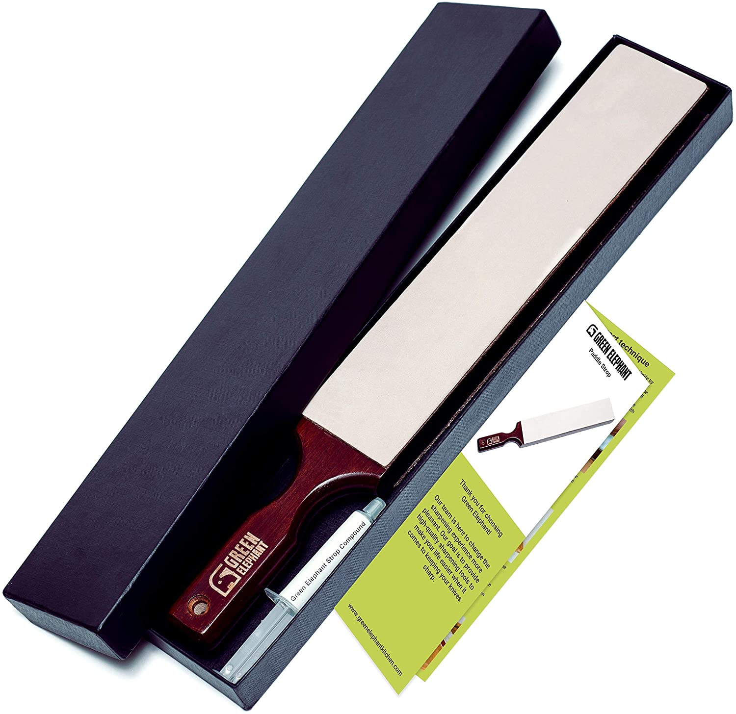 Leather Strop With Stropping Compound - Large 2 Sided Knife Strop With Natural Rough And Smooth Stropping Leather by Green Elephant