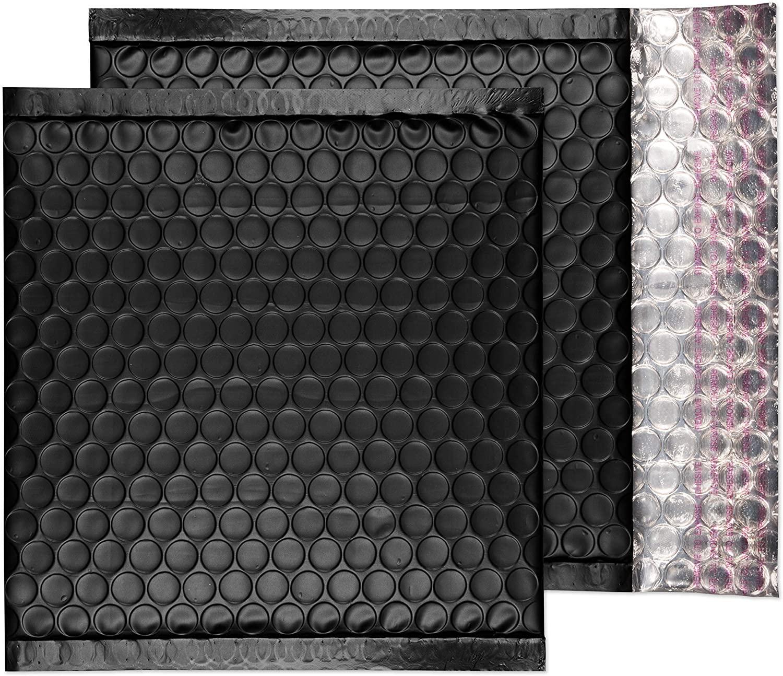 Blake Purely Packaging CD 165 x 165 mm Matt Metallic Padded Bubble Envelopes Peel and Seal (MTB165/10) Jet Black - Pack of 10