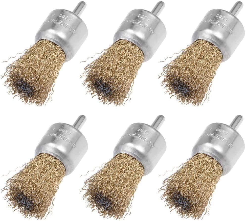 uxcell 30mm Wire Wheel Brush Cup Copper Plated Crimped Steel with Shank 0.012-inch Wire Dia 6 Pcs