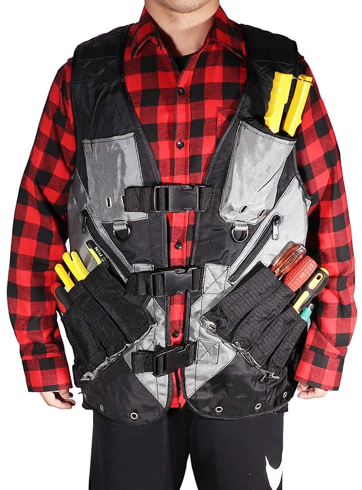 Heavy Duty Tool Vest,Multi-Purpose Electrican Work Vest, Large Capacity Carpenters Construction Harness, Design With Multiple Pockets And Reflective Strips,Ideal For Men And Women Small To XL (Black)