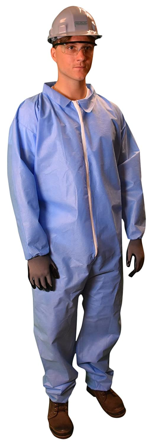 Keystone CVL-SMS-E-LRG-Blue Keytone, Heavy Duty SMS Coverall, Elastic Wrists and Ankles Single Collar, Large, Blue (Pack of 25)