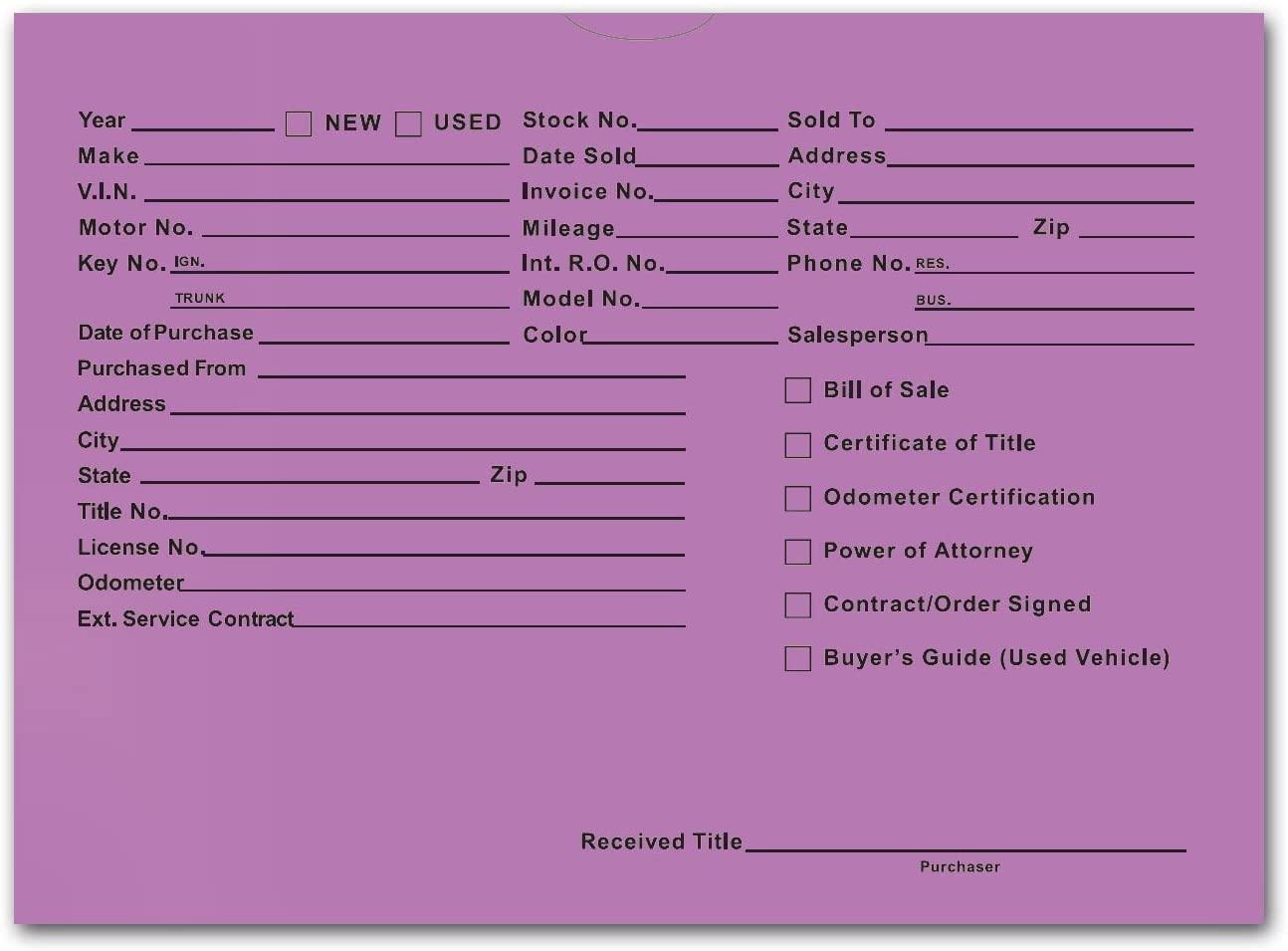 Printed Vehicle Deal Envelopes 9x12 Deal Jackets (100 Shrink Wrapped) (Lavender)