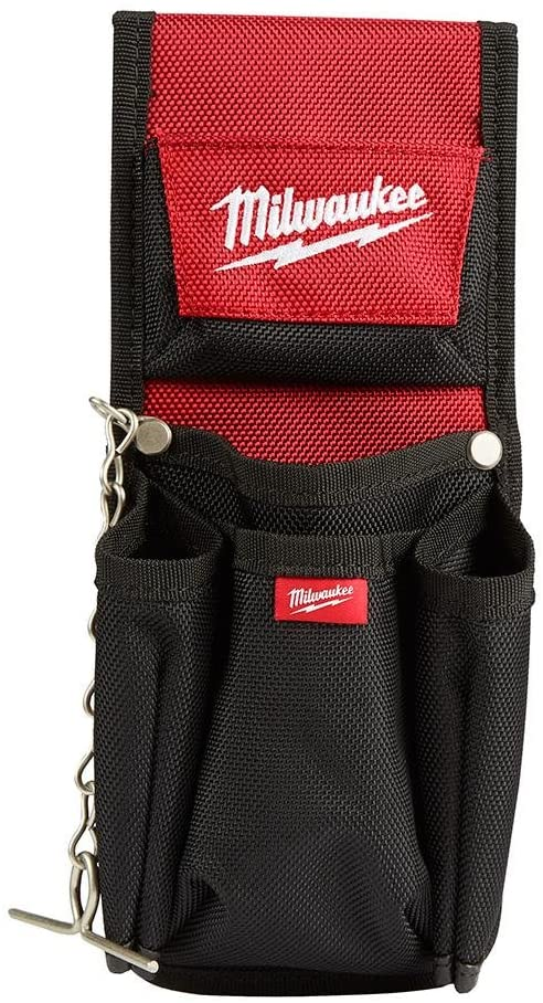 Milwaukee Tools 7-Pocket Compact Utility Pouch1680D Ballistic Material Construction with Riveted Seams for 5x Longer Life, features a Quick Attach Belt Loop and Tape Chain