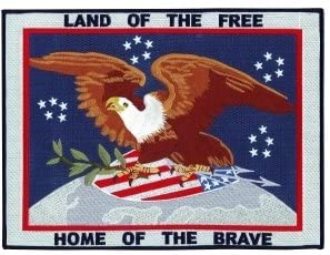 LAND OF THE FREE TRIBUTE PATCH, Size 12x9
