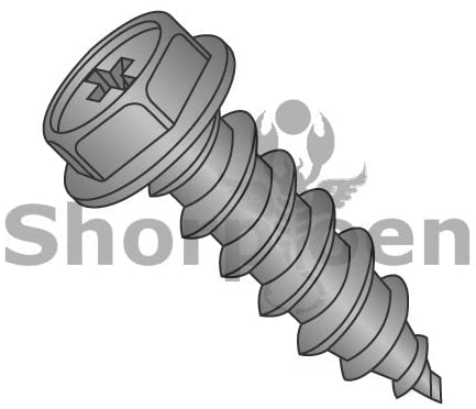 10-12X1 Phillips Indented Hex Washer Self Tapping Screw Type A Full Threaded Black Oxide - Box Quantity 5000 by Shorpioen BC-1016APWB