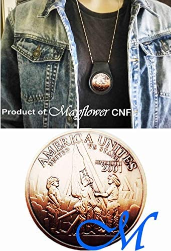 Mayflower CNF Coin &Leather Holder - 911 Never Forget Coin, Let Freedom Ring, United We StandLimited Edition