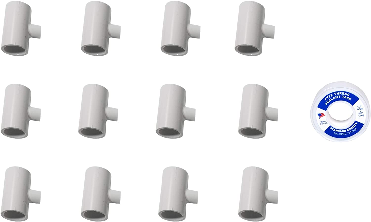 Plant My Tank 10 Pack - PVC Tee Fittings Threaded Poultry Nipples Chicken Waterer - Schedule 40 PVC 1/2 inch Slip X 1/2 inch Slip X 1/8 inch FPT - Made in The USA (12 with PFTE Tape)
