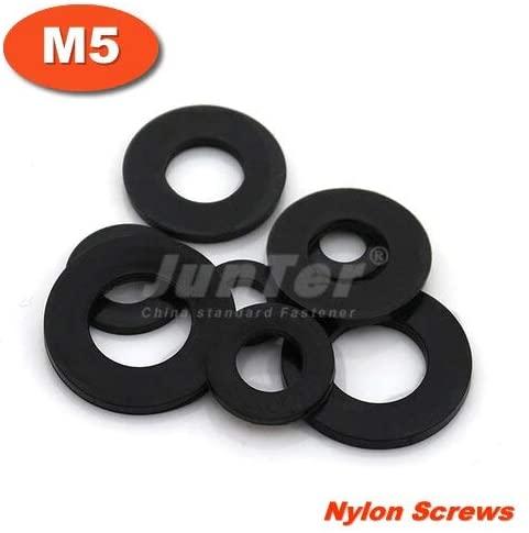 Ochoos 1000pcs/lot M5(ID) x 10(OD) x 1mm Thick Black Nylon Flat Washer