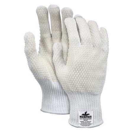 Cut Resistant Gloves, White, PVC, M, PR