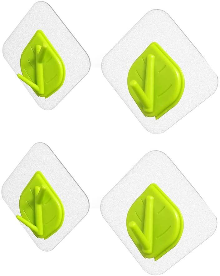 Heasa Wall Hooks, Hat Hooks, Storage Wall Mounted Coat Hanging Leaf Shape Hook for Coat, Wardrobe Closet Towel Key Robe Hook (Green) a