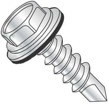 #12-14 x 3/4 Self Drilling Screws, Steel, Zinc Plating, Hex Washer Head Bonded Washer, Unslotted (Quantity: 3000 pcs)