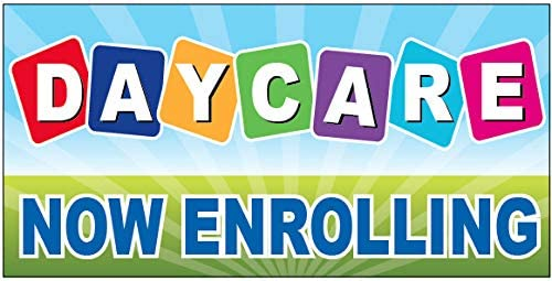 Daycare Now Enrolling Vinyl Banner Sign 2x4 ft - bgb