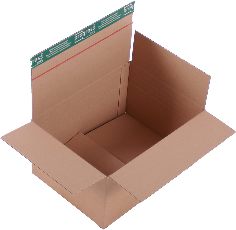 progressBOX K10, 04-1 Transport Cardboard Premium 1-Shaft with SK-Buckle and Tear-Off Strip DIN A4 +, 310 x 230 x 160-100 mm, 20er Pack, Brown