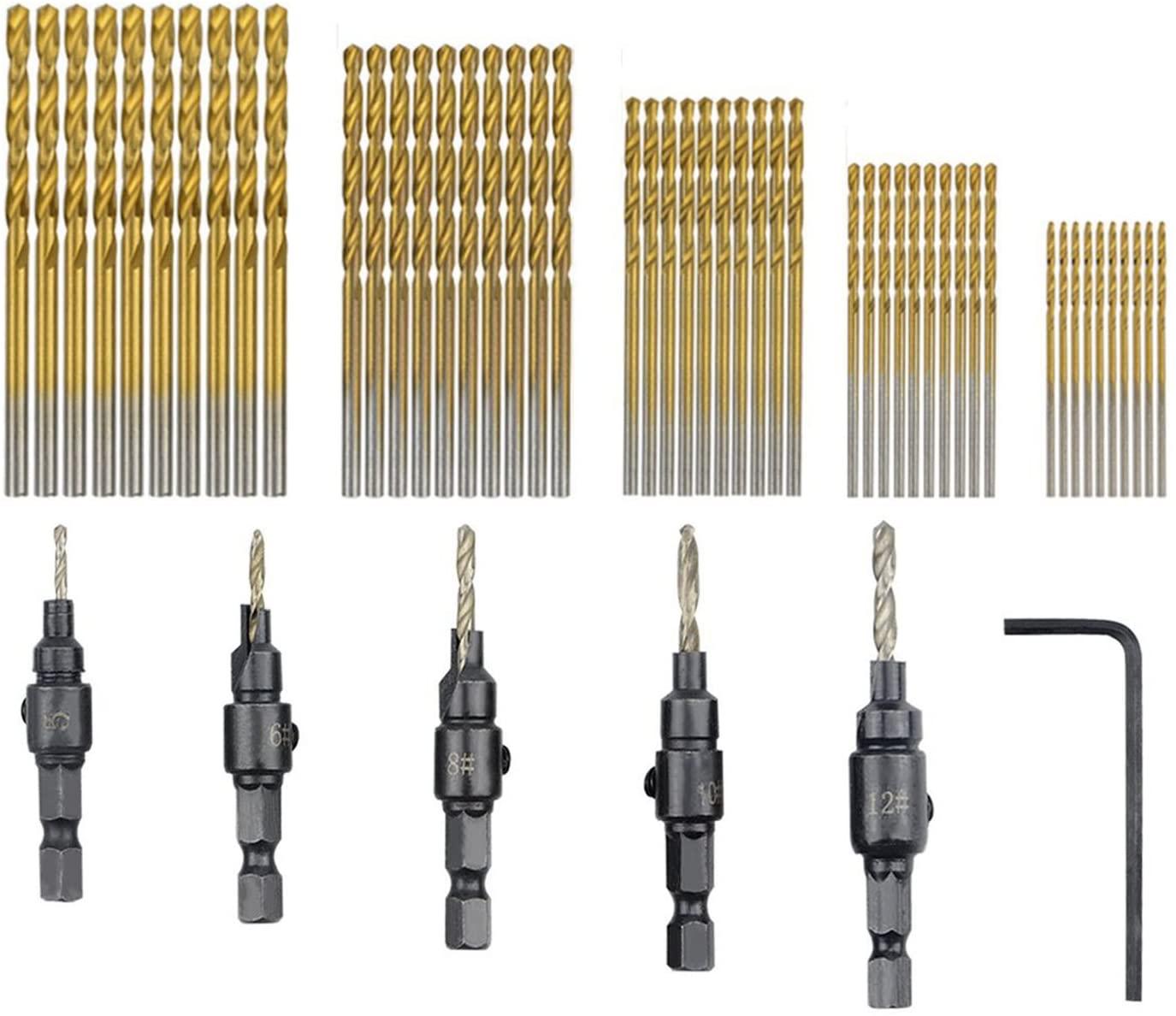 Gaoominy 55 PCS HSS 4241 Countersink Cone Drill Bit Set and High Speed Steel HSS Titanium Twist Drill Bits (1 mm-3 mm)