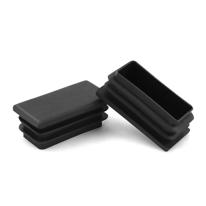1 X 2 inch Rectangle Plastic Plug HOMEKNOBS Tubing Plug Cap (25mm x 50mm) 12 Pcs Tubing Post End Cap Chair Glide Insert Finishing Plug Black