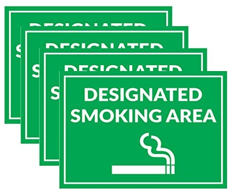Smoking Area Signs – 4 Pack – Made Of PVC – Perfect For Office Use, Business Premises, And Coffee Places – Clear, Readable Text - Easy to Install