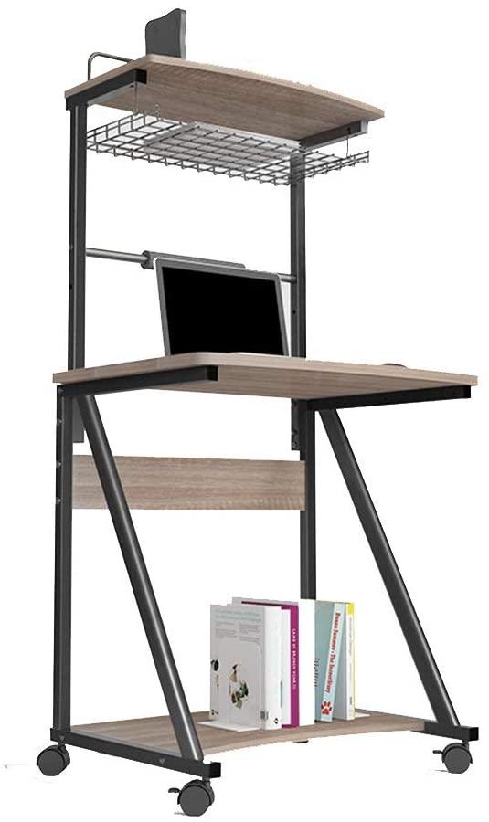 QQXX Computer Desk Floor Standing Desktop Computer Desk, Desk, Children's Desk, Desk, Double Layer Mobile Bookcase Breakfast Tray Table (Color : B)