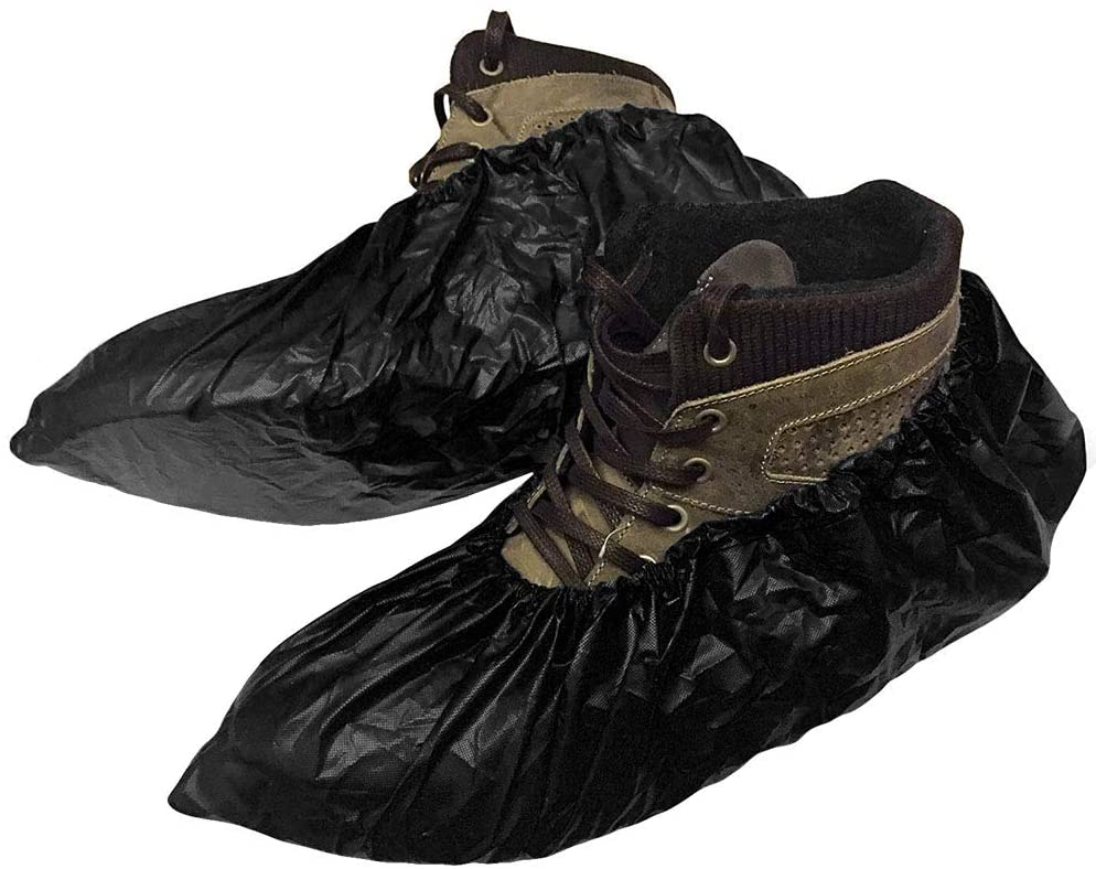 50 Pack Disposable CPE Shoe Covers XL Size 5 3/4 x 16 Black Shoe Protectors. Polyethylene Boot Covers for Real Estate, Food Processing. Shoe Covering. Heavy-Duty Water-Resistant Protection for Shoes