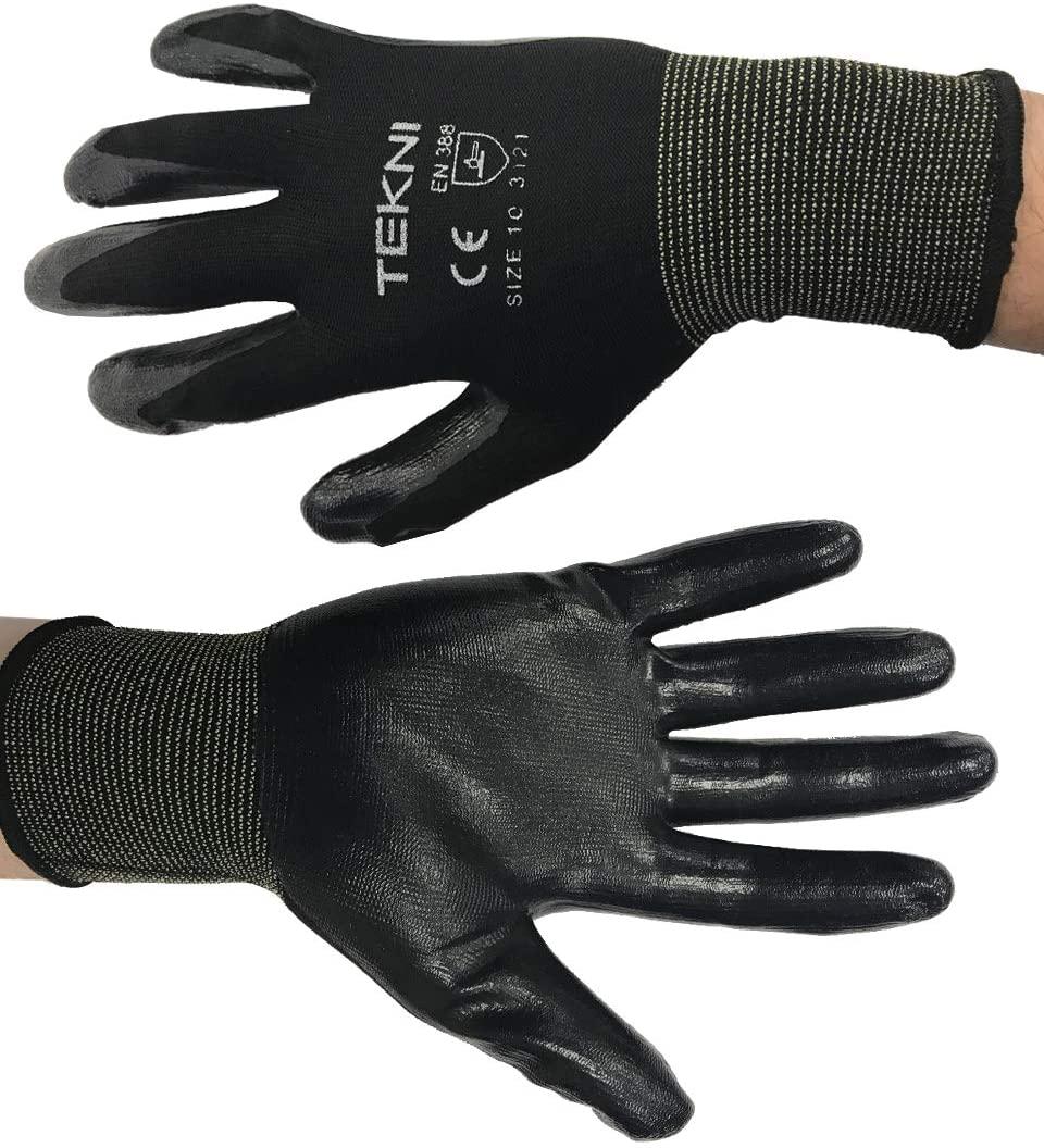 TEKNI Nitrile Coated Nylon Work Gloves, Pack 12 pairs (Extra Large (10))